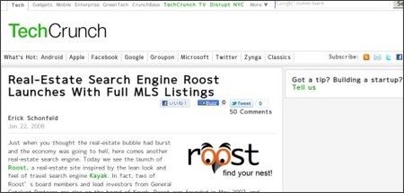 http://techcrunch.com/2008/01/22/real-estate-search-engine-roost-launches-with-full-mls-listings/