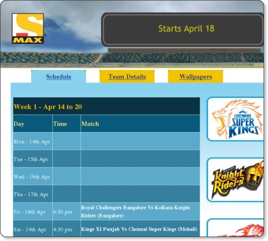 http://www.maxtelevision.com/ipl2008/index.php