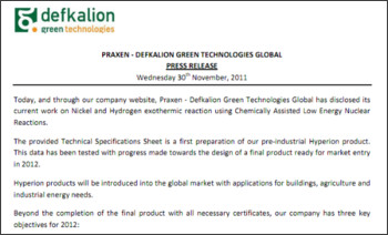 http://www.defkalion-energy.com/files/Press_Release_30Nov2011_Praxen_Defkalion_Green_Technologies.pdf