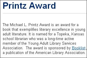 http://www.ala.org/yalsa/printz-award