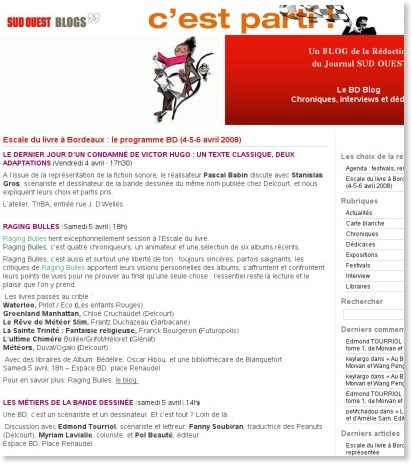 http://bd.blogsudouest.com/escale-du-livre-a-bordeaux-le-programme-bd-4-5-6-avril-2008/