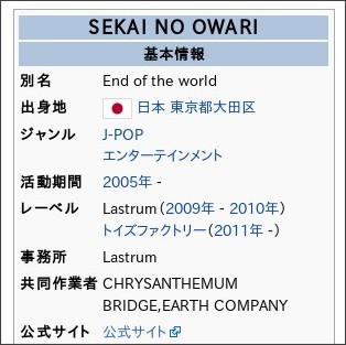 http://ja.wikipedia.org/wiki/SEKAI_NO_OWARI
