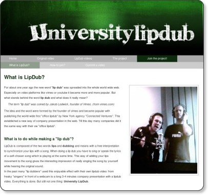 http://universitylipdub.com/join-the-project/what-is-lipdub/