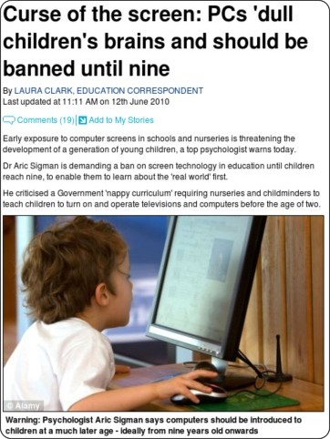 http://www.dailymail.co.uk/health/article-1285981/TVs-PCs-dull-childrens-brains.html