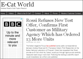 http://www.e-catworld.com/2011/11/rossi-refuses-new-test-offer-confirms-first-customer-as-military-agency-which-has-ordered-13-more-units/