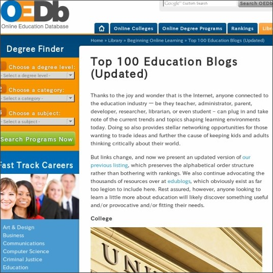 http://oedb.org/library/beginning-online-learning/top-100-education-blogs-updated