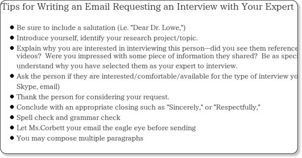Dissertation Interview Letter Request