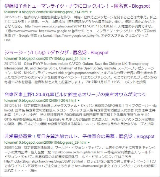 https://www.google.co.jp/search?ei=7EiAWrDOOJHGjwOy0Z7ADA&q=site%3A%2F%2Ftokumei10.blogspot.com+Oxfam&oq=site%3A%2F%2Ftokumei10.blogspot.com+Oxfam&gs_l=psy-ab.3...3093.5859.0.6462.5.5.0.0.0.0.206.761.0j4j1.5.0....0...1c.1.64.psy-ab..0.2.277...33i21k1.0.Teo8YqI41bE