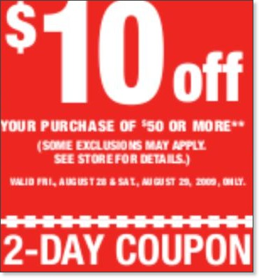Sports Authority is having two day weekend coupons – $10 Off $50 or more