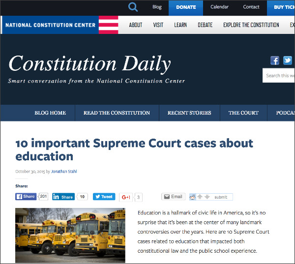 http://blog.constitutioncenter.org/2015/10/10-important-supreme-court-cases-about-education/
