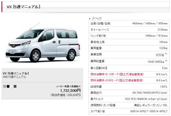 http://www.nissan.co.jp/NV200VANETTE/m200905g13.html?gradeID=G13&model=NV200VANETTE