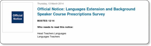 http://news.boardofstudies.nsw.edu.au/index.cfm/2014/3/13/Official-Notice-Languages-Extension-and-Background-Speaker-Course-Prescriptions-Survey