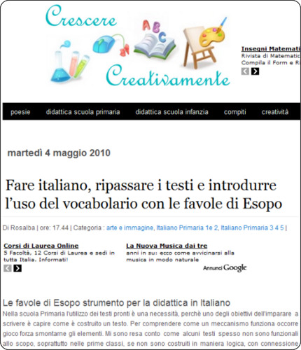 http://crescerecreativamente.blogspot.com/2010/05/attivita-didattica-di-italiano-con-le.html?utm_source=feedburner&utm_medium=feed&utm_campaign=Feed%3A+CrescereCreativamentePerBambiniENonSolo+%28Crescere+Creativamente%3A+per+bambini+e+non+solo%29&utm_content=Twitter