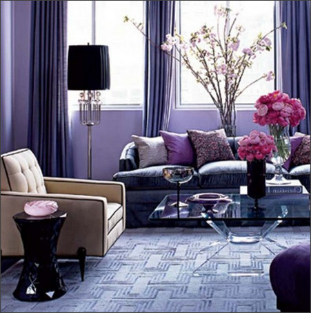 L Purple brown living room