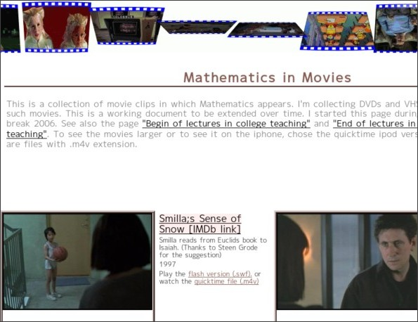 http://www.math.harvard.edu/~knill/mathmovies/index.html