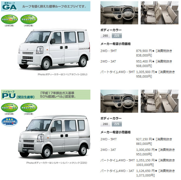 http://www.suzuki.co.jp/car/every/grade_price/index.html