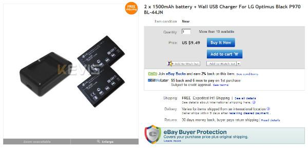 http://www.ebay.com/itm/2-x-1500mAh-battery-Wall-USB-Charger-LG-Optimus-Black-P970-BL-44JN-/260874192401?pt=LH_DefaultDomain_0&hash=item3cbd504611