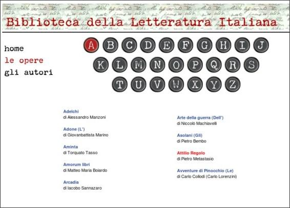 http://www.letteraturaitaliana.net/opere/a.htm