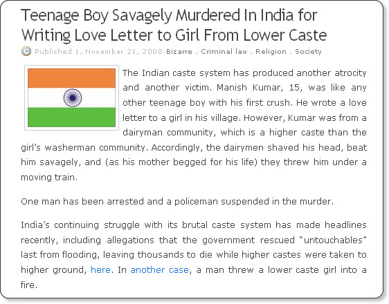 http://jonathanturley.org/2008/11/21/teenage-boy-savagely-murdered-in-india-for-writing-love-letter-to-girl-from-lower-caste/