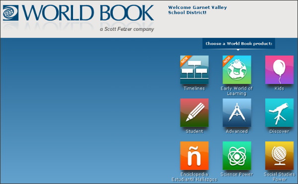 http://worldbookonline.com/wb/products?ed=all&gr=Welcome+Garnet+Valley+School+District!