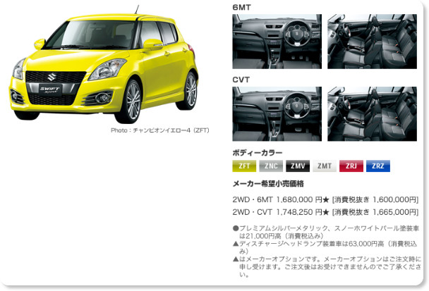 http://www.suzuki.co.jp/car/swift_sport/price/index.html