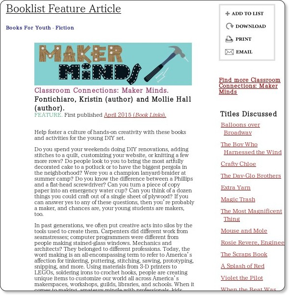 http://www.booklistonline.com/Classroom-Connections-Maker-Minds-Fontichiaro-Kristin/pid=7377777