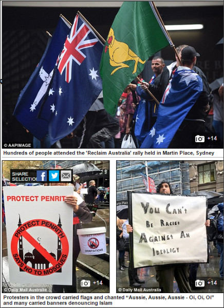 http://www.dailymail.co.uk/news/article-3025276/Protests-Melbourne-Sydney-turn-violent-anti-Islam-anti-racism-rallies-clash-Twitter-account-hijacked-mock-anti-Islam-events.html