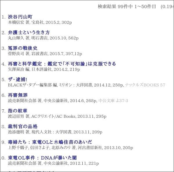 http://webcatplus.nii.ac.jp/pro/?q=%E6%9D%B1%E9%9B%BB%EF%BC%AF%EF%BC%AC&t=&ps=&pe=&m=&c=&i=&r=&p=&a=&l=&n=50&o=yd&lang=ja