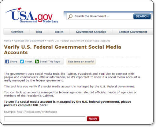 http://www.usa.gov/Contact/verify-social-media.shtml