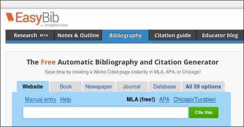 Easybib apa   Online Writing Lab     sources EasyBib supports
