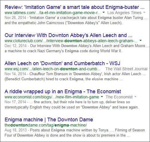 https://www.google.com/#q=Downton+Enigma