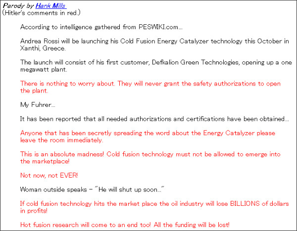 http://pesn.com/2011/07/05/9501863_Hitler_Panics_Over_Rossi_E-Cat/