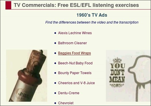 http://eolf.univ-fcomte.fr/index.php?page=tv-commercials-listening-exercises