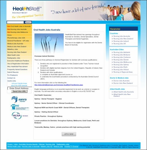 http://www.healthstaffrecruitment.com.au/oral-health-jobs-australia.php