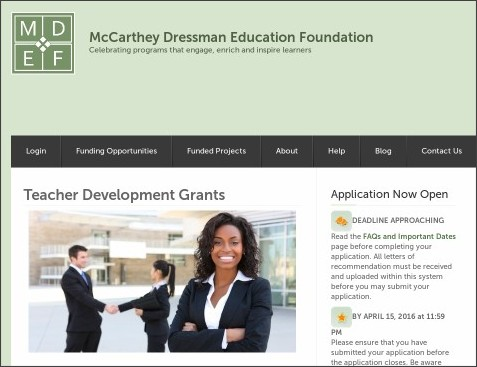 http://mccartheydressman.org/teacher-development-grants/