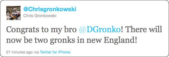 http://twitter.com/#!/Chrisgronkowski/status/111127531494703105