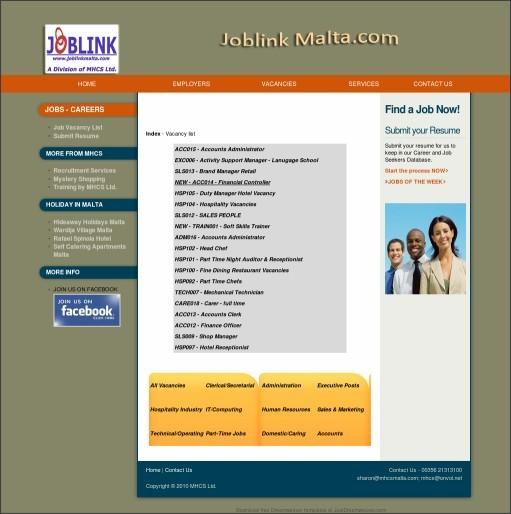 http://www.joblinkmalta.com/allnewvacancies.html