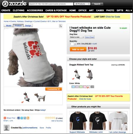 http://www.zazzle.com/i_heart_wikileaks_on_side_cute_doggy_dog_shirt-155169864368444021