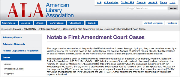 http://www.ala.org/advocacy/intfreedom/censorshipfirstamendmentissues/courtcases