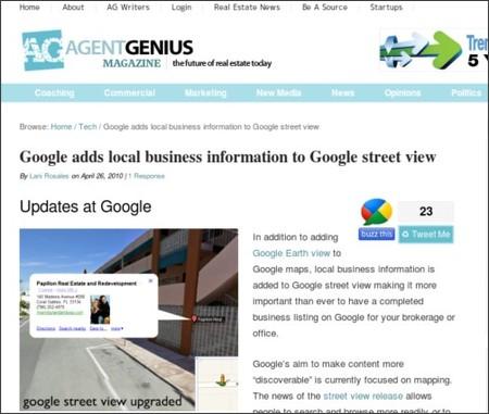 http://agentgenius.com/real-estate-coaching-tutorials/tech/google-adds-local-business-information-to-google-street-view/