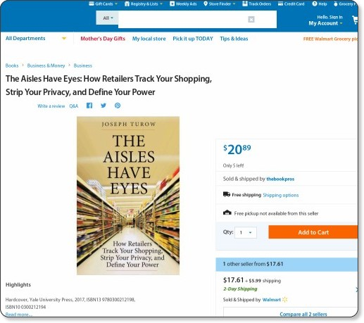 https://www.walmart.com/ip/The-Aisles-Have-Eyes-How-Retailers-Track-Your-Shopping-Strip-Your-Privacy-and-Define-Your-Power/53595427