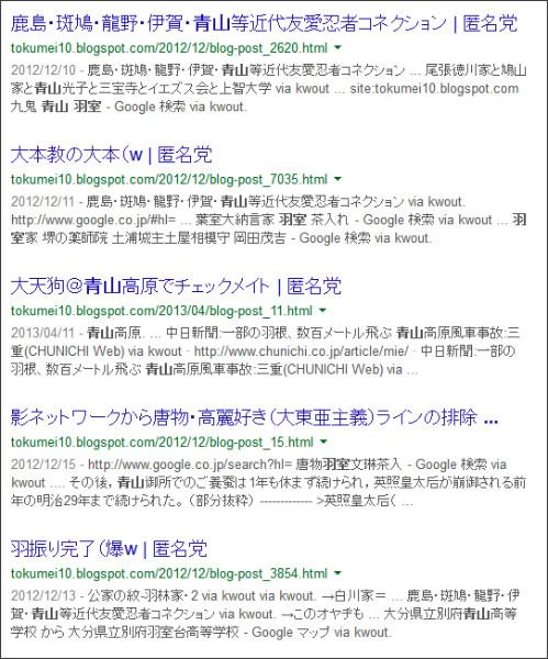 https://www.google.co.jp/search?hl=ja&safe=off&biw=1145&bih=939&q=site%3Atokumei10.blogspot.com+&btnG=%E6%A4%9C%E7%B4%A2&aq=f&aqi=&aql=&oq=&gws_rd=ssl#hl=ja&q=site:tokumei10.blogspot.com+%E7%BE%BD%E5%AE%A4%E3%80%80%E9%9D%92%E5%B1%B1&safe=off