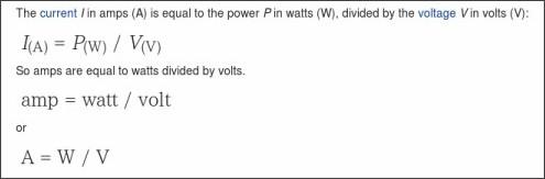 http://www.rapidtables.com/convert/electric/Watt_to_Amp.htm
