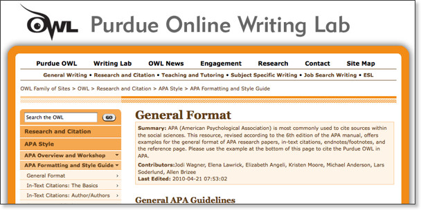 owl at purdue research paper apa format Purdue owl: apa formatting and style guide citation machine: apa format citation generator for websites the basics of apa style generator to properly cite resources for your next research paper select the blue tab for the type of citation you need owl at purdue apa.