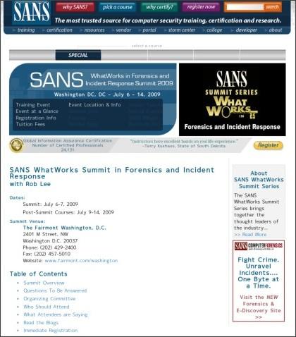 http://www.sans.org/forensics09_summit/