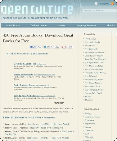 http://www.openculture.com/freeaudiobooks