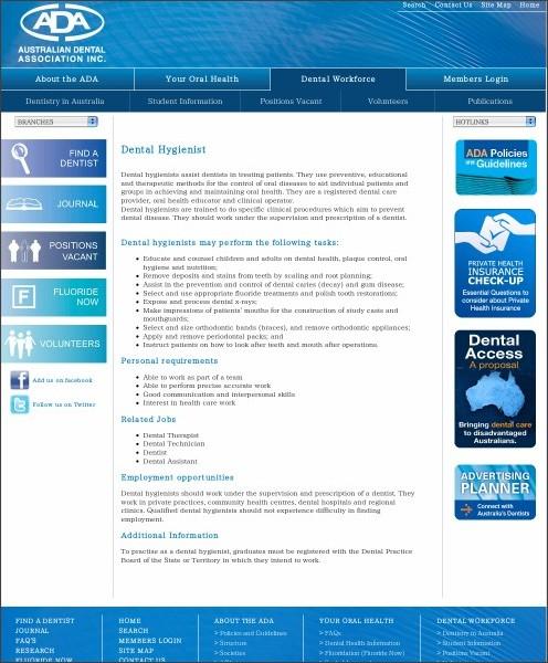 http://www.ada.org.au/dentalprofessionals/hygienist.aspx