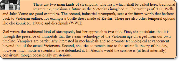 http://www.gailcarriger.com/steampunk/about-steampunk