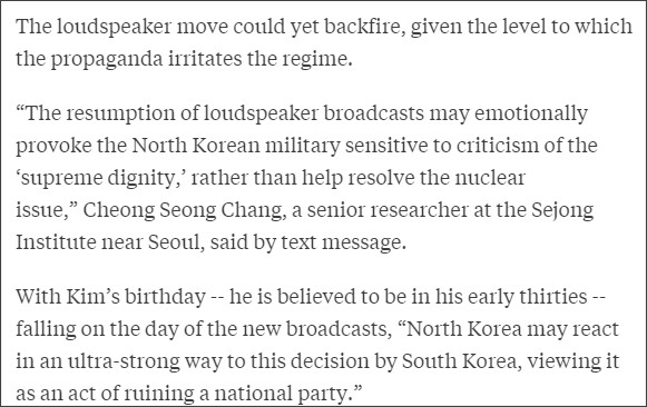 http://www.bloomberg.com/news/articles/2016-01-07/south-korea-to-inflict-k-pop-blasts-on-kim-jong-un-for-nuke-test