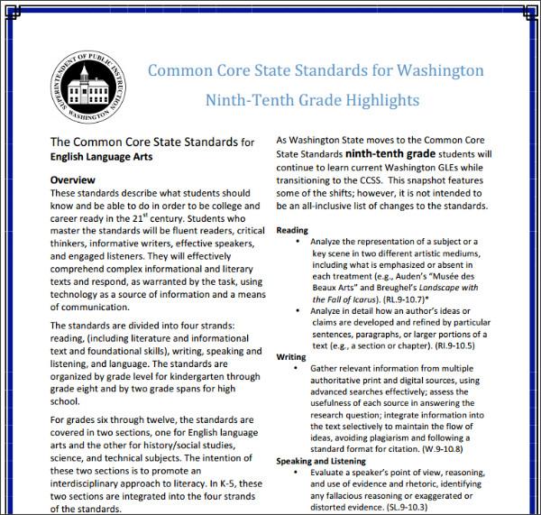 http://www.k12.wa.us/CoreStandards/pubdocs/CCSSGrade9-10Highlights.pdf
